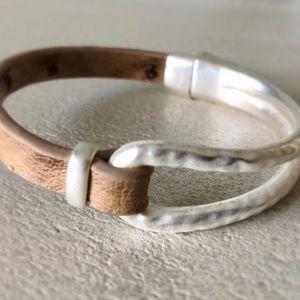 Silver-tone Faux Ostrich Magnetic Bracelet